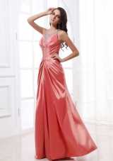 Floor Length Beading Decorate Prom Dress with Ruches and Straps