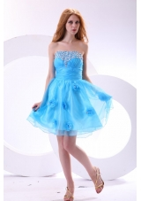 Aqua Blue Strapless Beading and Flowers Decorate Senior Prom Dress
