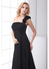 Black One Shoulder Floor Length Prom Evening Dress with Ruche