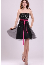 Black Short Princess Strapless Party Dress with Sash and Sequins