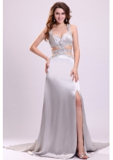 Sexy Silver Halter Evening Dress with Beading and Sexy Back
