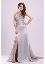 Silver Sweetheart Ruched Bodice Halter Prom Evening Dress with Slit