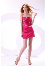 Hot Pink Column Sweetheart Prom Nightclub Dress with Beading
