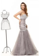 Mermaid Grey Prom Celebrity Dress with Beading and Ruches