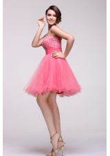 Pink Princess Party Prom Dress with Beading and Layered Skirt