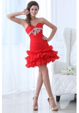 Short Sweetheart Prom Mini Dress with Ruching Bodice and Ruffles