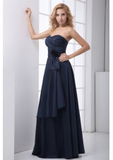 Navy Blue Sweetheart Prom Mother Dress with Ruches and Bowknot