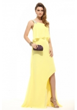 Light Yellow Chiffon High-low Prom Dress with One Shoulder Beading