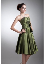 Olive Green Simple Strapless Prom Bridesmaid Dress with Bowknot