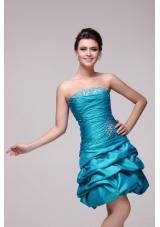 Pretty Blue Strapless Short Beading Taffeta Prom Dress