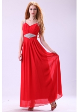 Pretty Red Floor-length Beading Chiffon Prom Dress With Straps