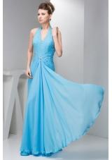 Cheap Aqua Blue Empire Halter Prom Dresses in Chiffon with Beading