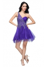 Most Sexy Purple One Shoulder Beading Tulle Prom Cocktail Dress