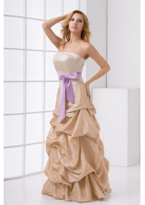 Strapless Taffeta Champagne Prom Dress with Sashes and Pick Ups