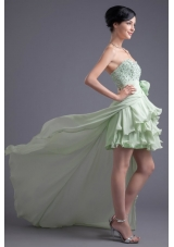 Light Green Sweetheart High-low Beading Chiffon Prom Dress