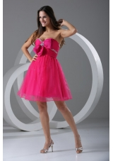 Lovely Hot Pink Beading and Ruching Knee-length Prom Dress