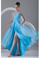Chiffon Aqua Blue One Shoulder With Appliques Prom Dress