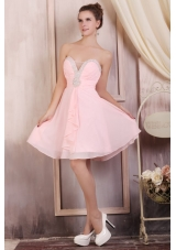 2014 Baby Pink Beaded Sweetheart Empire Mini-length Prom Dresses