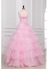 Beautiful Baby Pink Sweetheart Ruffles Layered Quinceanera Dress