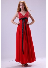 Red Beading Ankle-length V-neck Chiffon Prom Dress For Girls