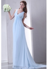 Discount Empire V-neck Light Blue Prom Dress with Ruching