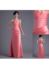 Watermelon Column One Shoulder Ruching Prom Dress in Satin