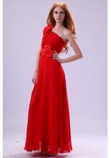 Brand New Style Red Empire One Shoulder Chiffon Prom Dress