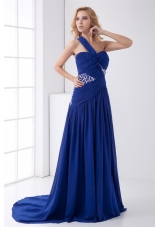 Royal Blue Elegant One Shoulder Chiffon Prom Evening Dress