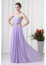 Elegant Lavender Empire Strapless Prom Dress With Court Train