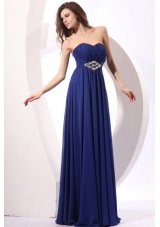 Elegant Royal Blue Empire Sweetheart Beading Chiffon Prom Dress