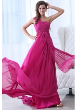 Gorgeous Fuchsia Chiffon One Shoulder Prom Dresses with Ruching