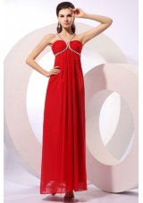 Pretty Red Empire Chiffon Prom Dress For Graduation Party