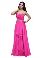 Hot Pink Empire Sweetheart Beading and Ruching Chiffon Prom Dress