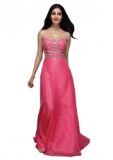 Hot Pink Empire Sweetheart Chiffon Beading and Ruching Prom Dress
