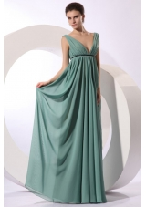 Sexy Empire V-neck Floor-length Ruching Chiffon Prom Dress