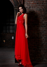 Bright Red V-neck Chiffon High Low Prom Dress with Flowers