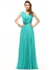 Unique Turquoise Empire V-neck Chiffon Ruching Prom Dress