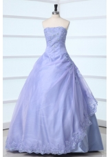 Simple Style Lavender Strapless Appliques Decorate Quinceanera Dress