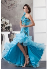 One Shoulder Blue Ruffled Prom Dress with Peacock Feather Appliques