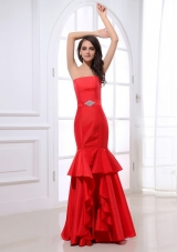 Red Strapless Prom Party Dress with Beading and Ruffles