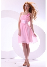 Pretty Baby Pink One Shoulder Knee-length Prom Dress For Girls