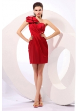 Lovely One Shoulder Mini-length Bowknot Column Red Prom Dress