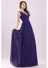 Sexy Purple Empire V-neck Ruching Floor-length Chiffon Prom Dress