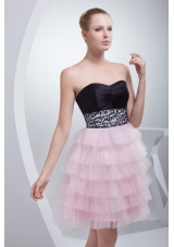 Sweetheart Mini-length Ruffled Beading Prom Dress with Side Zipper