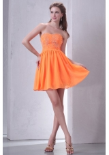 Sweet Orange Empire Mini-length Beading Decorated Prom Dress