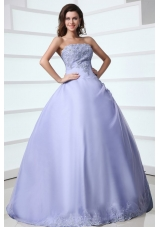 Classical Strapless Appliques Over-lay Quinceanera Dress with Corset Back