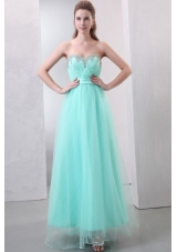 Mint Green Sweetheart Beaded Organza Prom Dress for Girls