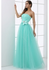 Strapless Mint Green Prom Pageant Dress with Bowknot