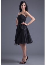 Gorgeous Short Black Prom Dress with Handmade Flowers