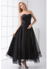 Black Strapless Ankle-length Prom Dresses with Embroidery